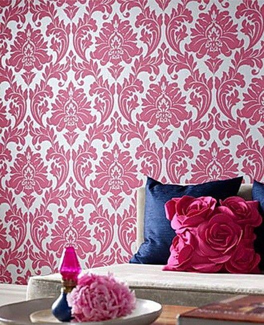 Wallpaper Majestic Damask G Pink Silver