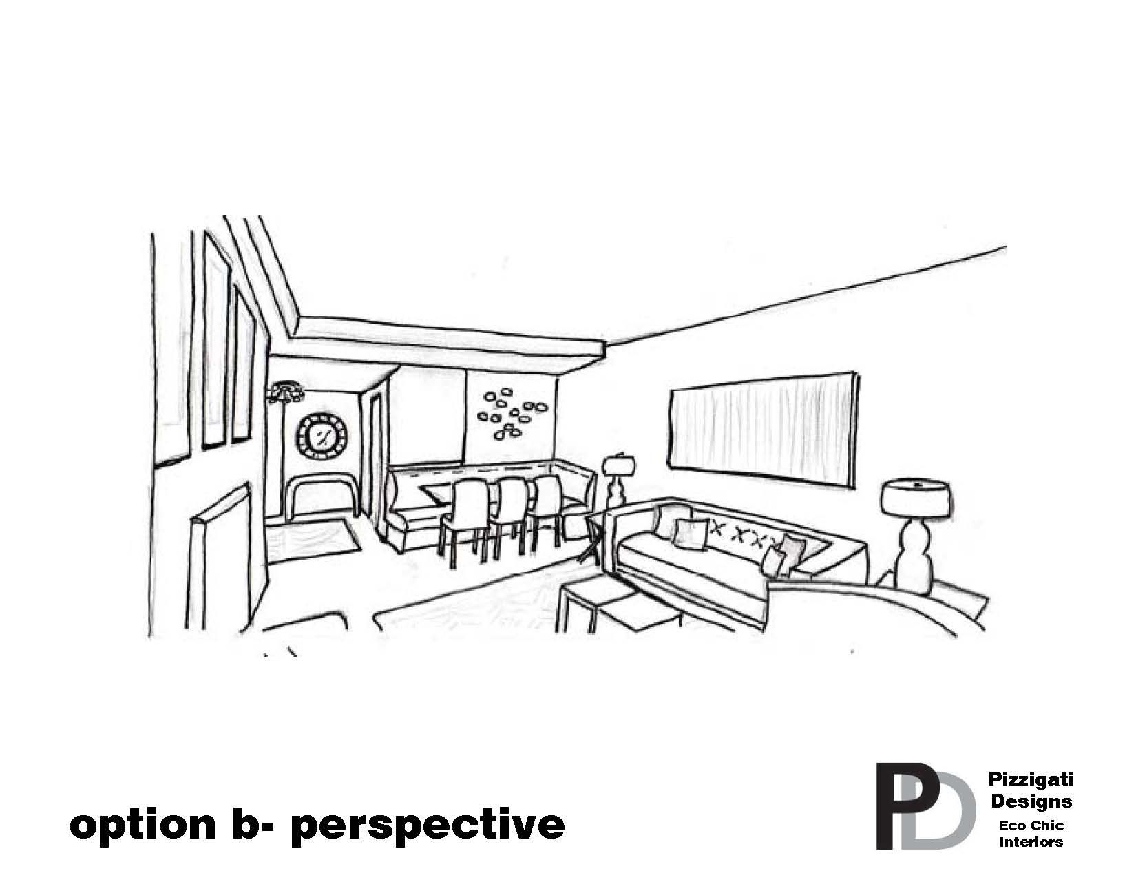 Living Room Drawings eco friendly interior design- option b- living room perspective