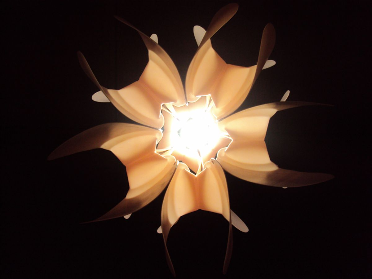 Recycled bottle lamp to look like lotus flower my style recycled plastic bottle chandeliers by eugenio menjivar arubaitofo Images