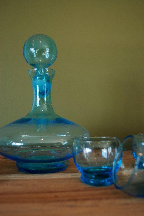 Italian blown glass decanter set in aqua via sugarSCOUT