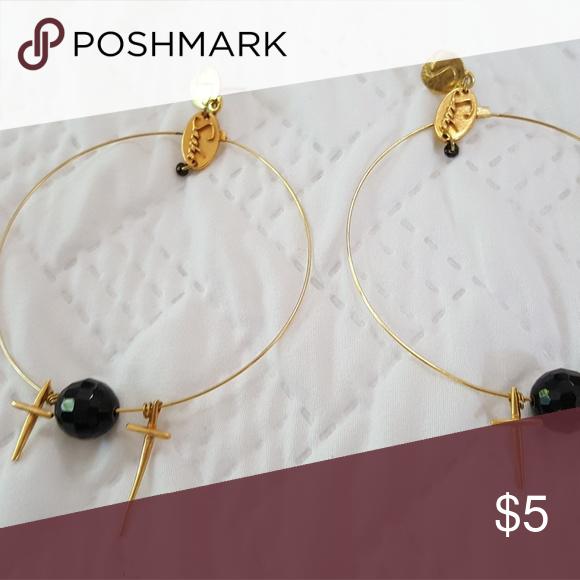 Gold Hoop Cross Earrings