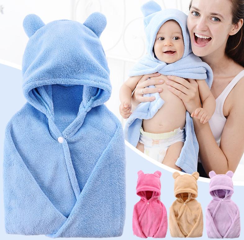Baby Badetuch Bademantel mit Kapuze Kapuzentuch Handtuch Badetücher Strandtuch