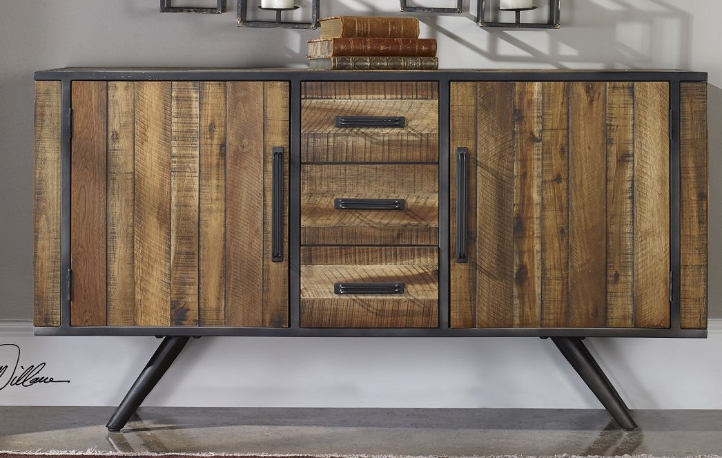 Uttermost Bovacan Sideboard. Acacia wood slats form the panels of this sideboard, and they are set into an industrial black iron framework. $1315.