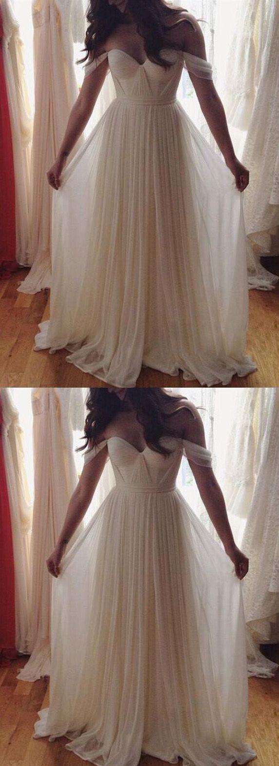 Off shoulder beach wedding gowns beach wedding dress chiffon prom