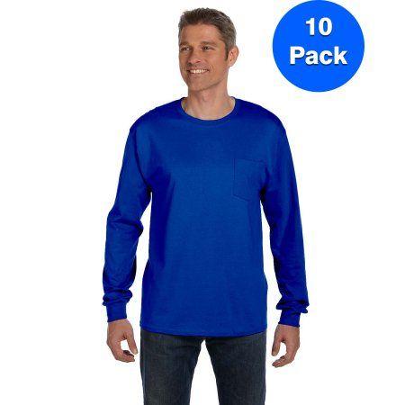d7db837f95e Mens Tagless ComfortSoft Long-Sleeve Pocket T-Shirt 5596 (10 Pack), Size:  Large, Blue