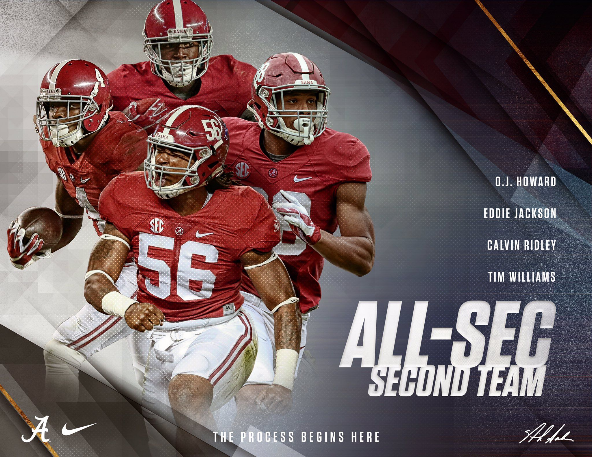2016 All Sec Second Team The University Of Alabama O J Howard Eddie Jackson Calvin Ridley An Crimson Tide Football Alabama Football Alabama Crimson Tide