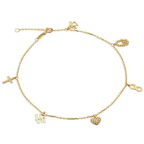 10k Yellow Gold Anklet With Cross Heart Infinity Hamsa Hand Charms 10 Inches Womens More Info For Single Ankle Silver Anklets Designs Gold Anklet Women Anklets