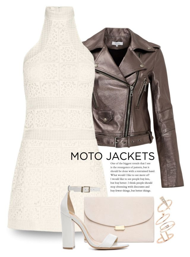"""""""After Dark: Moto Jackets 2056"""" by boxthoughts ❤ liked on Polyvore featuring Parker, Alexis, Mansur Gavriel, Schutz, Topshop and motojackets"""
