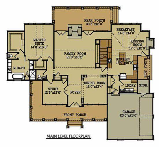 brick home floor plan big oaks main level - Brick House Floor Plans