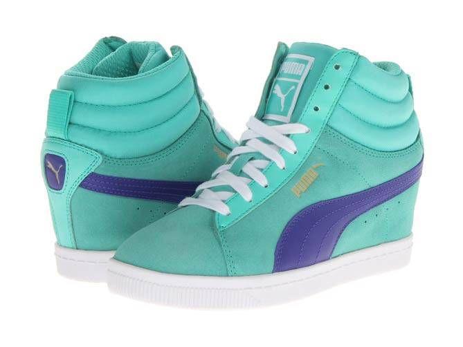 mint green puma wedge sneakers