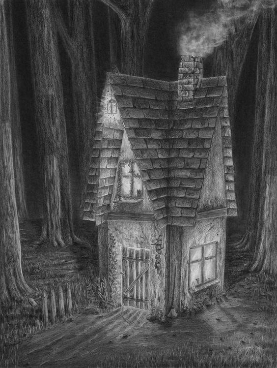 Zeichnen Lernen Haus Im Dunklen Wald Zeichnen Tutorial