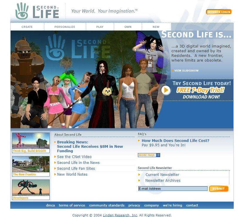 Second Life Website In 2004