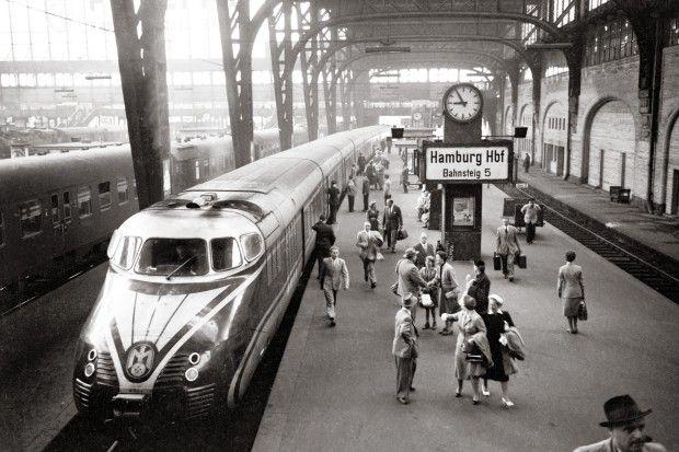 Night Train From Zurich At Hamburg Central Station Around 1955