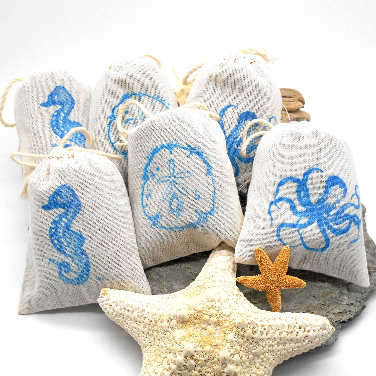 Lavender Sachets, Ocean Themed - 6 pack, Shower Favor, Wedding Favor ...