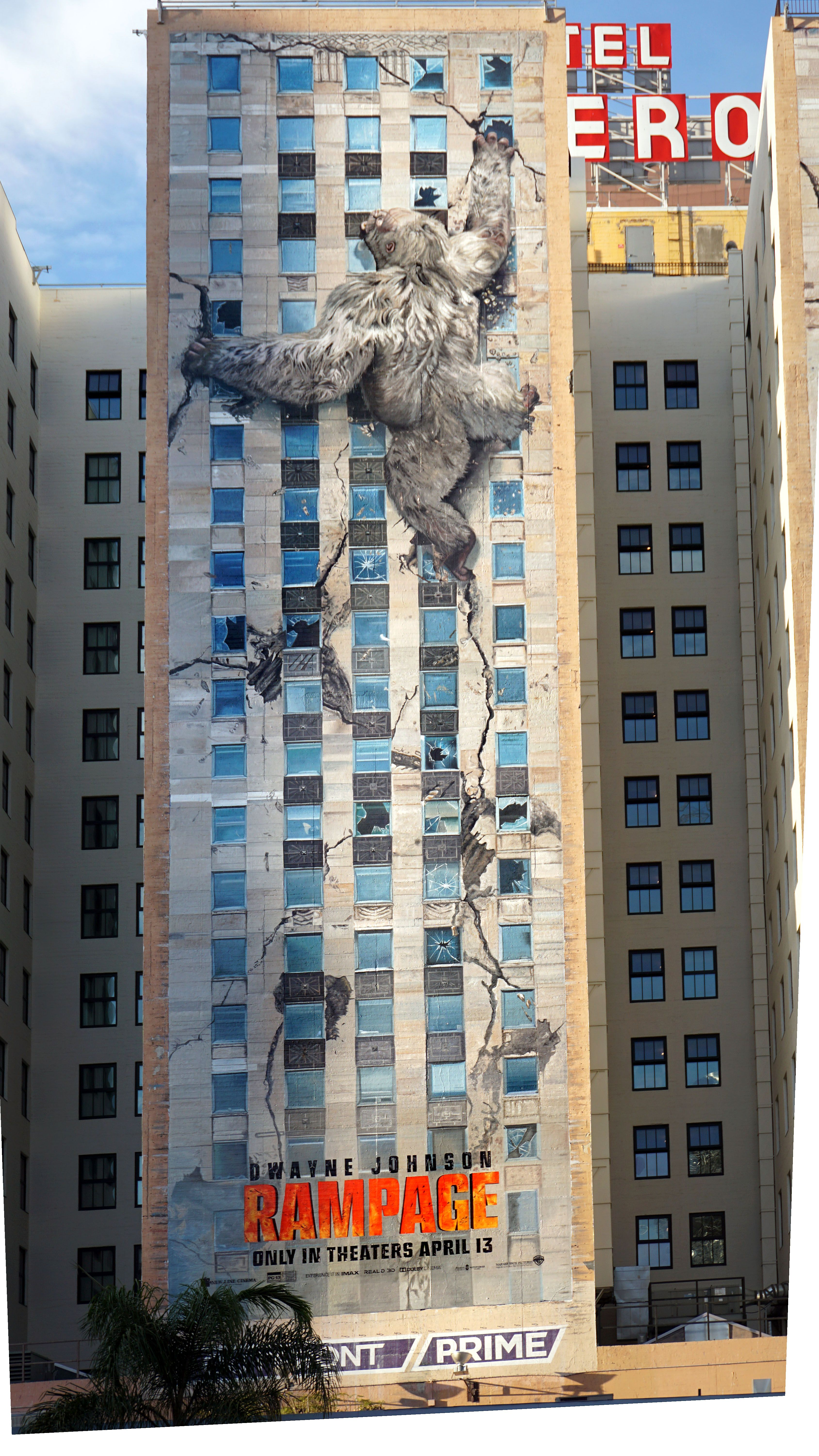 Building Mural At Hotel Figueroa Featuring Rampage Rampage Is