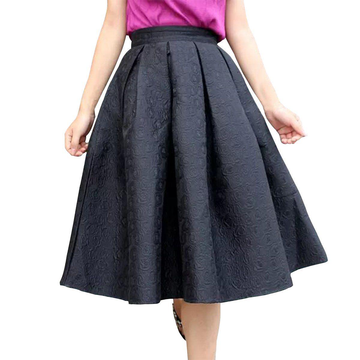 Sue&Joe Women's Flared Skirt A Line Knee Length Plain Swing Pleated Circle Skirt at Amazon Women's Clothing store: