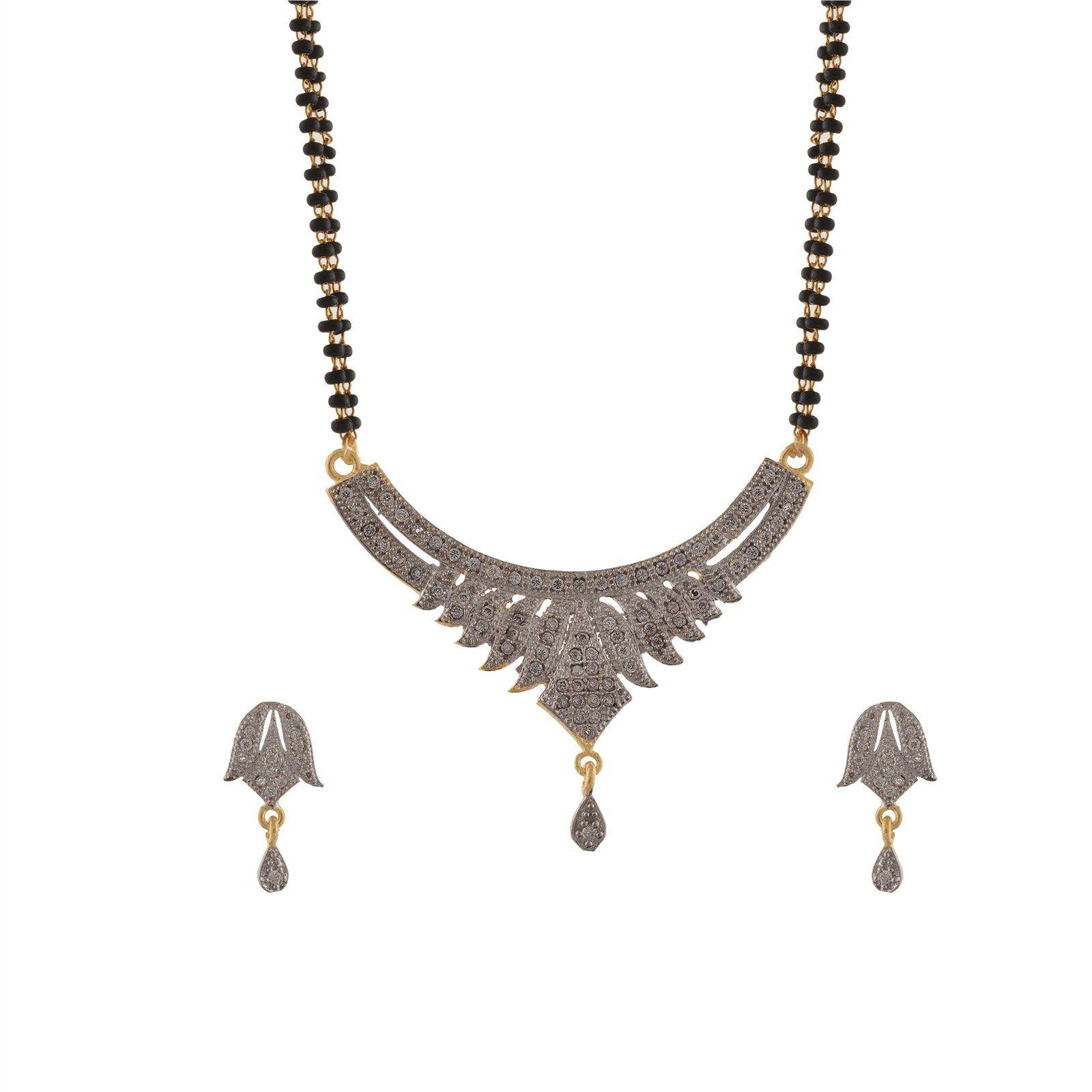 Zephyrr fashion lotus design ad mangalsutra pendant earrings set