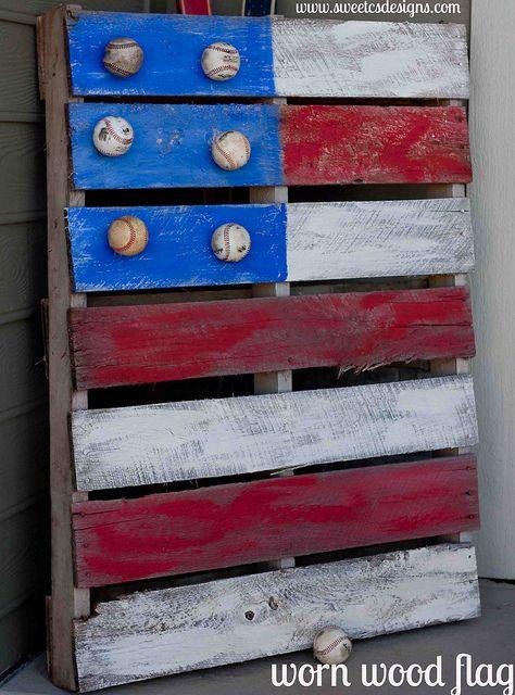 worn wood flag