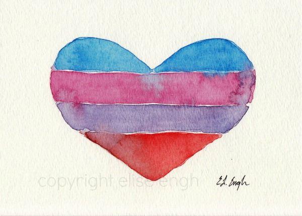 Striped Watercolor Heart Painting | ANNIES/random | Pinterest ...