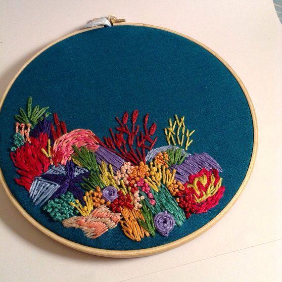 Coral reef embroidery hoop art deep sea ocean wall by
