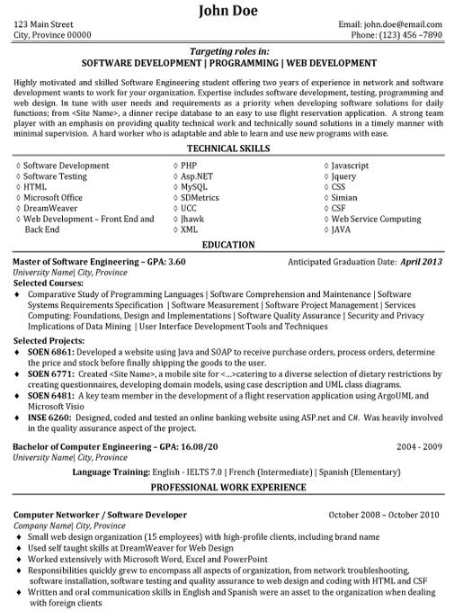 canada software developer resume sample