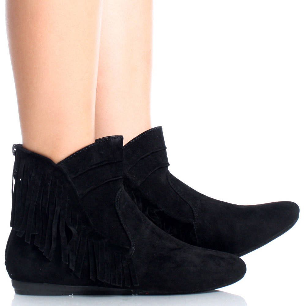 Black-Suede Fringe Zipper Casual Tribal Bootie Womens Flat Ankle ...