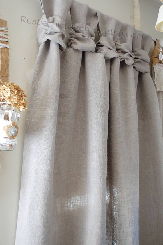 Curtain-Ash Gray like burlap - Wide Ruched Tabs