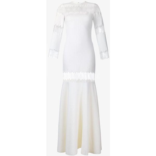 HUISHAN ZHANG Faye Wool Lace Fishtail Dress (7,720 MYR) via Polyvore featuring dresses, white long sleeve dress, long-sleeve lace dresses, white lace dress, lace cocktail dress and white evening dresses