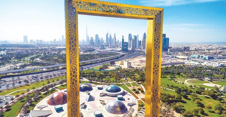برواز دبي ورؤية مستقبل إمارة دبي بعد 50 عام Photography Backdrop Stand Dubai City Frame