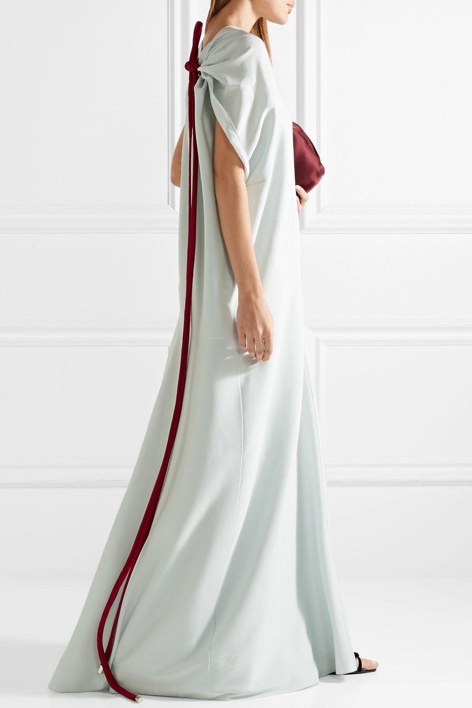 Cilida Asymmetric Silk-blend Chiffon Gown - Sky blue The Row ik7ObjS