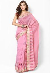 Cotton Fancy Contrast Multi Zari Border Pink Saree