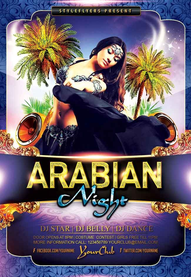 Arabian Night Party Psd Flyer Free Flyer Ideas Pinterest
