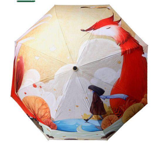 2015 Oil Painting Sun Rain Parasol Compact Three Folding Umbrella Personal Girl Dachenstore Compact With Images Print Umbrella Cartoon Illustration Creative Oil Painting