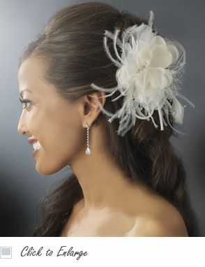 Ivory & Rum Pink Bridal Feather Fascinator