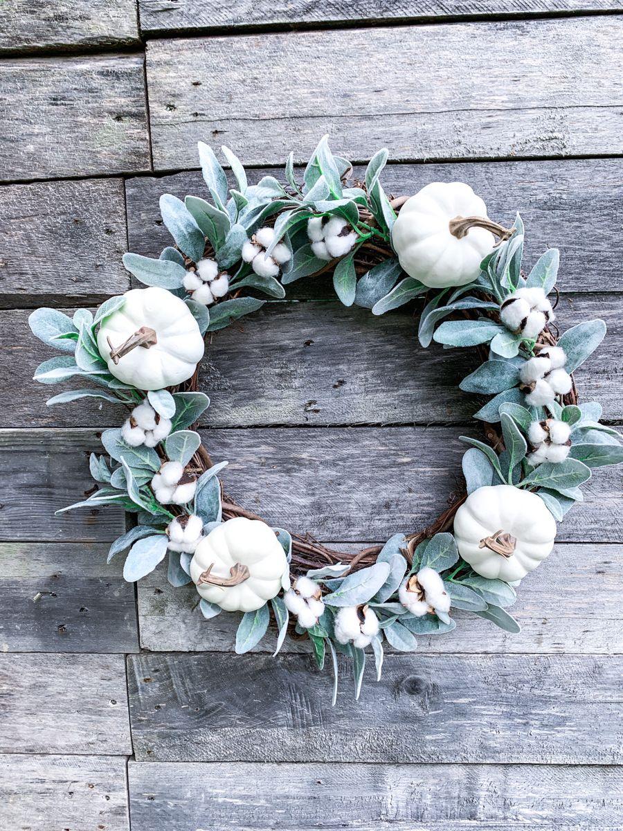 Fall wreath, grapevine wreath, lambs ear wreath, pumpkin
