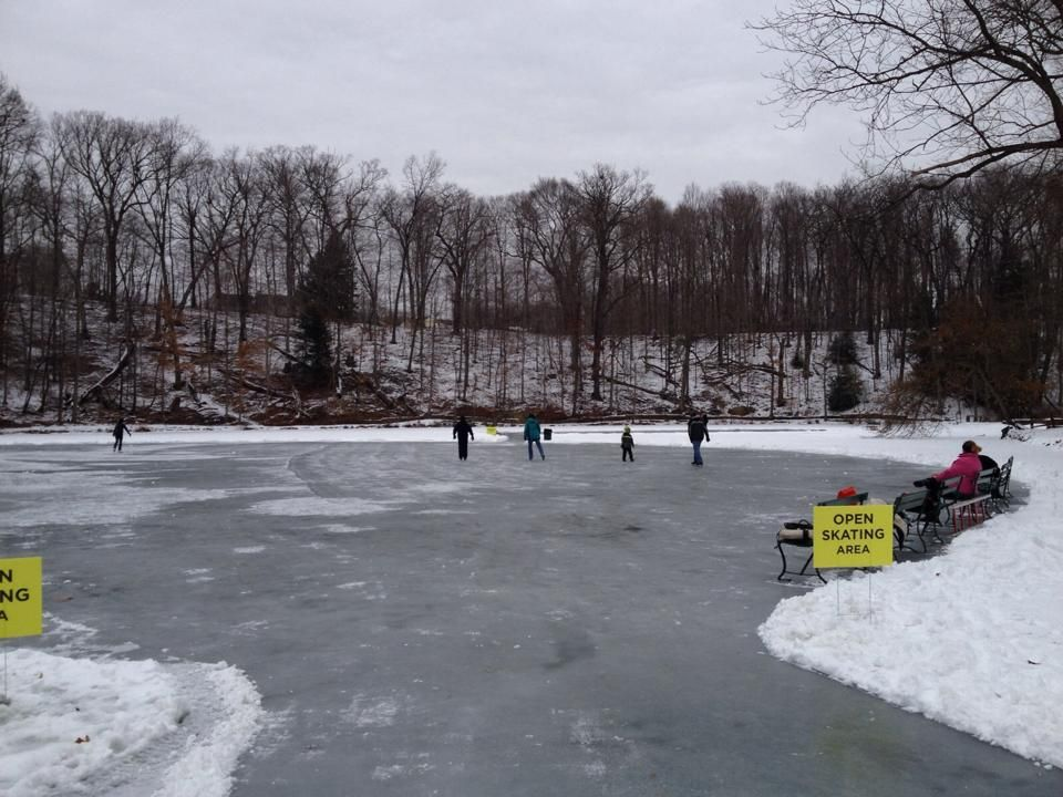 Ice skating at the Mill Creek Park fish pond - Youngstown ...