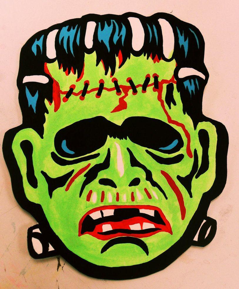 Frankenstein Monster Vintage Halloween Mask by Insert-Name ...