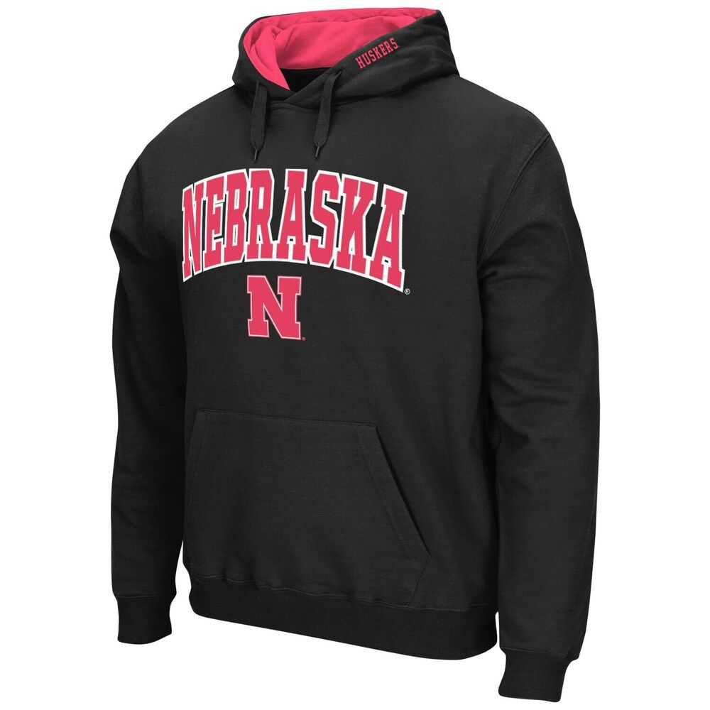 Men S Colosseum Black Nebraska Cornhuskers Arch Logo Pullover Hoodie Hoodies Pullover Hoodie Sweatshirts [ 1000 x 1000 Pixel ]
