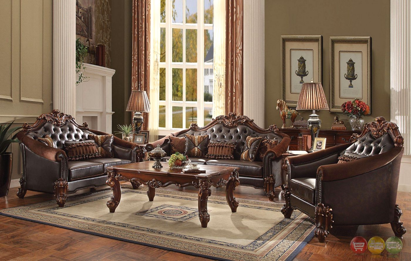 Vendome Ii Formal Two Tone Dark Brown Loveseat With Tufted Faux Leather Sofa And Loveseat Set Living Room Sets Acme Furniture