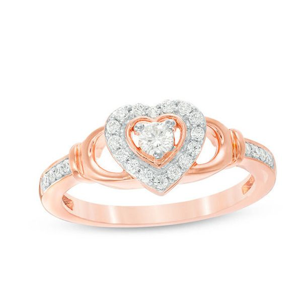 1 4 Ct T W Diamond Heart Frame Claddagh Style Promise Ring In 10k Rose Gold In 2020 Rose Gold Promise Ring Promise Rings Heart Shaped Diamond