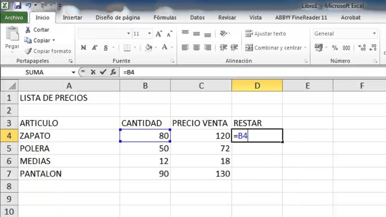Formula Para Restar Cantidades En Excel Hojas De Cálculo Diseño De Página Formulas