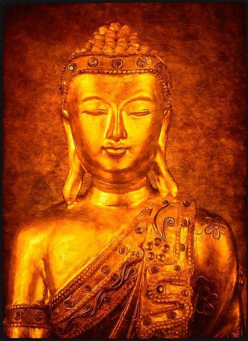Golden buddha art gold buddha in meditation digitally for Buddha mural paintings