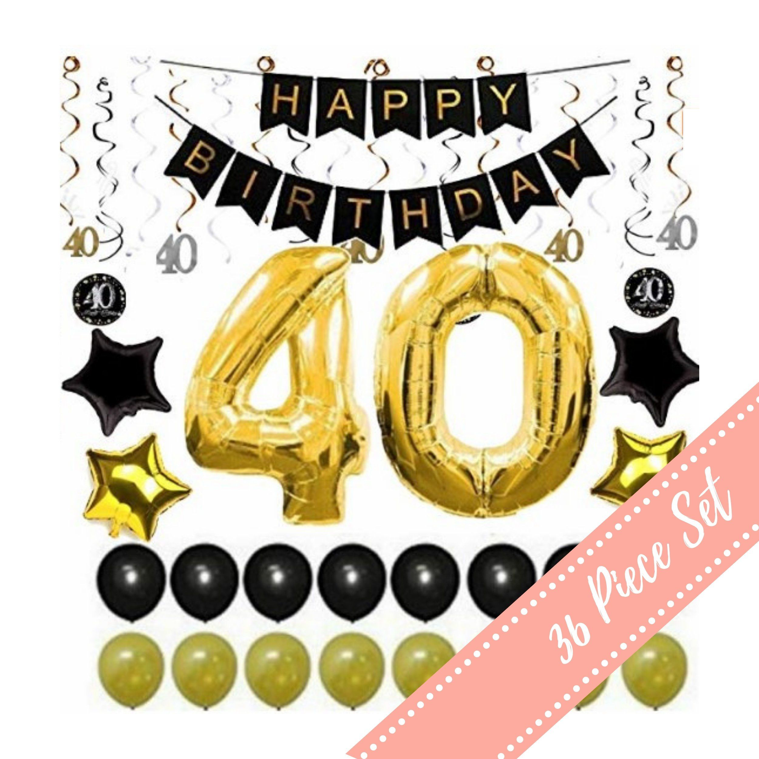 40th birthday decorations for men woman him her balloons