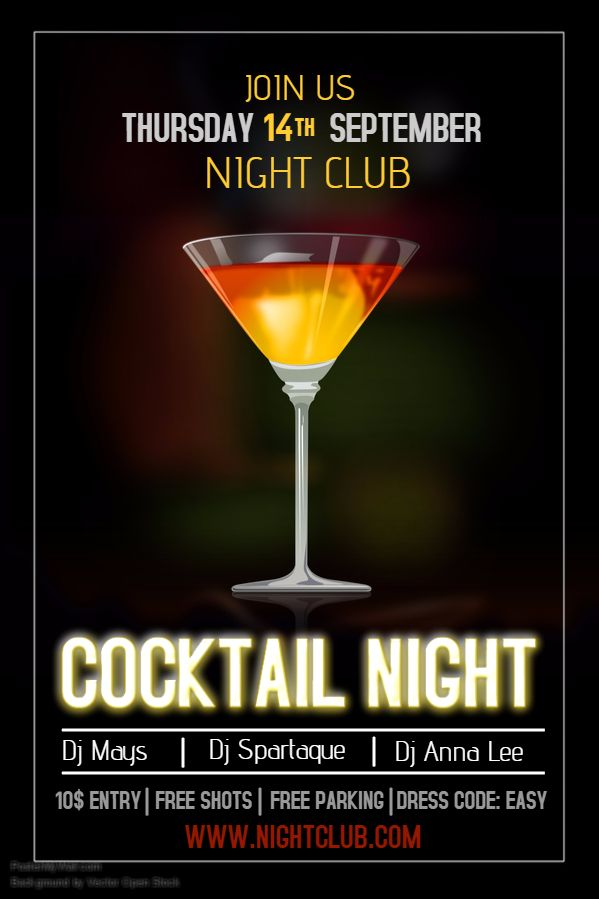 Cocktail Bar Flyer Template Click On The Image To Customize On