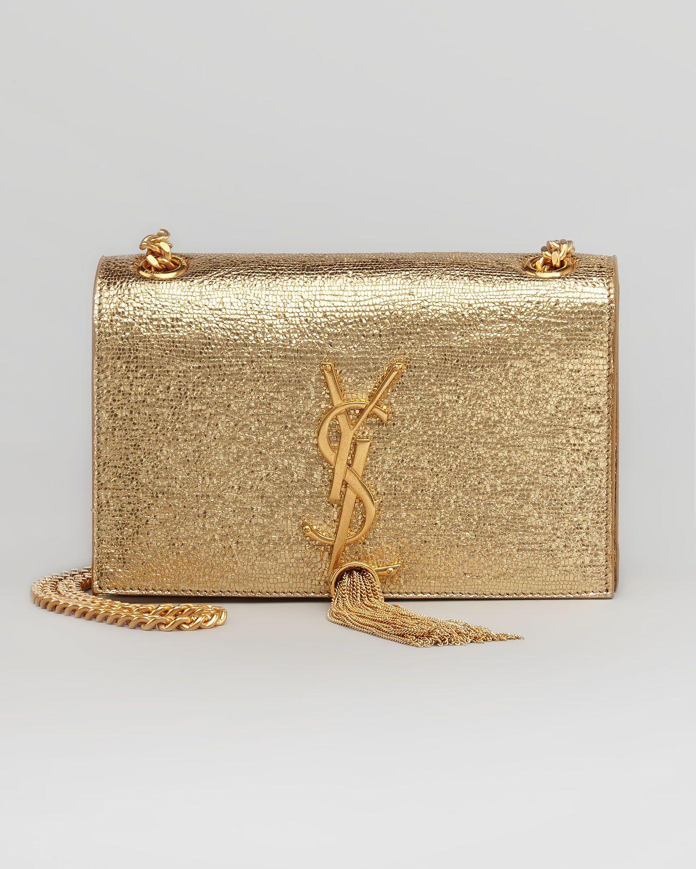 1bb01da29db76 Saint Laurent Cassandre Small Tassel Crossbody Bag, Gold - Neiman Marcus