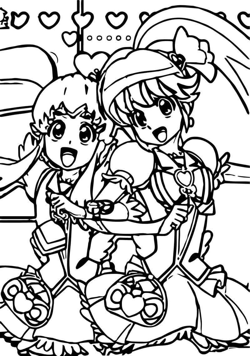 Happy Glitter Force Girls Coloring Page.