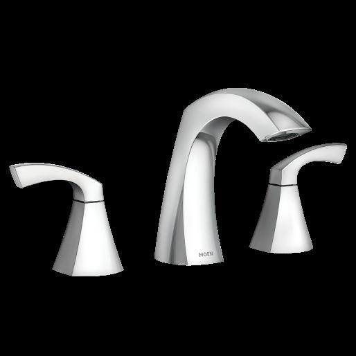 Lindor Chrome Two Handle High Arc Bathroom Faucet Sink Faucets