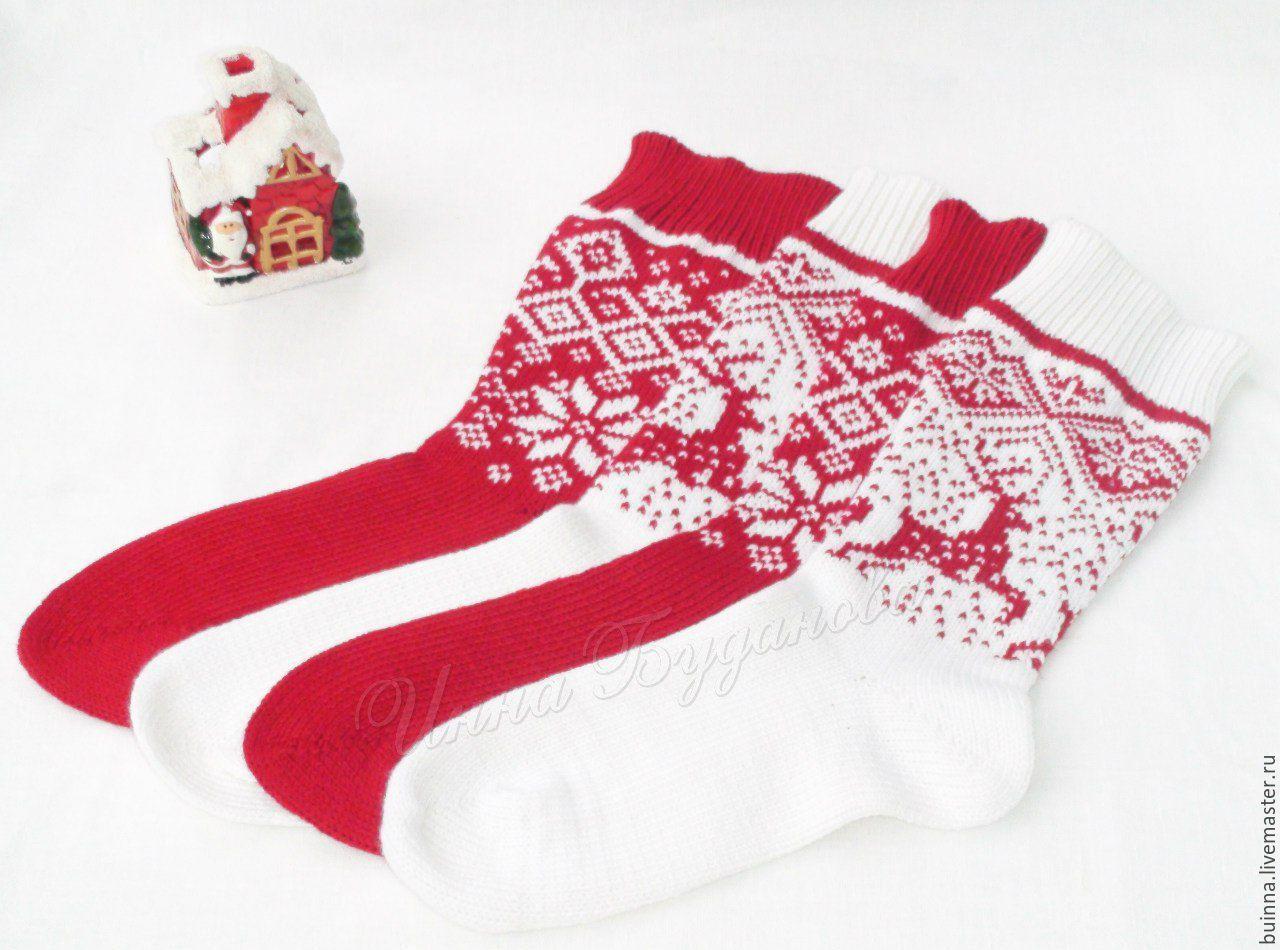 купить вязаные новогодние носочки разноцветный носки носки