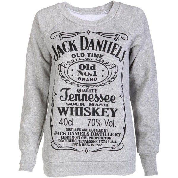 Grey Jack Daniells Sweat Shirt ($7.73) ❤ liked on Polyvore