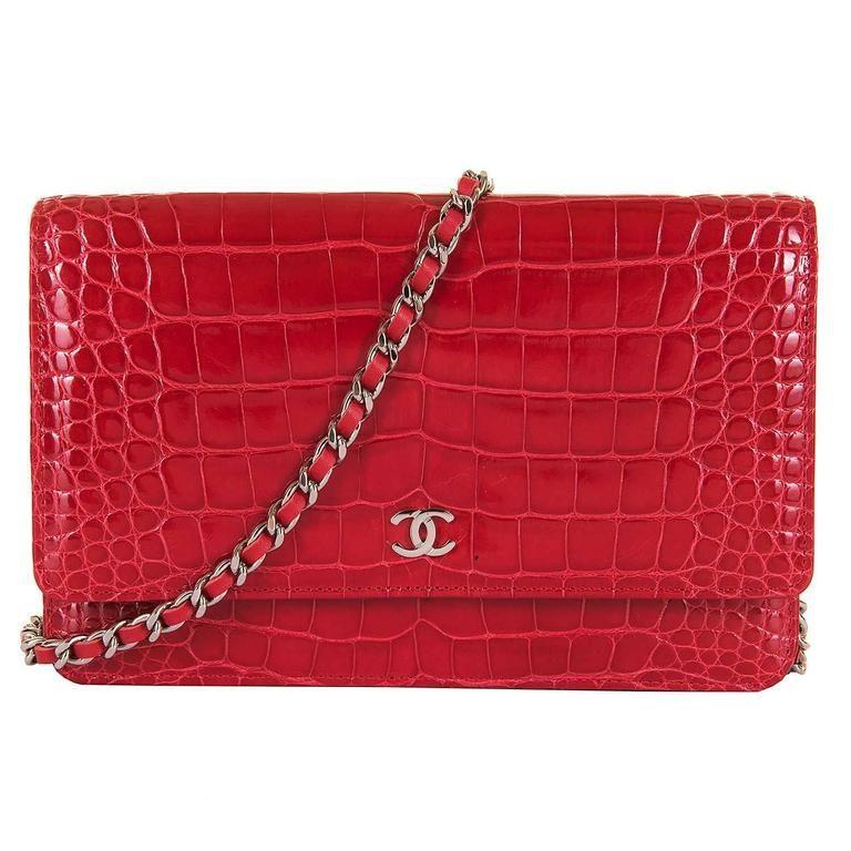 edd8e89e6558 Chanel Imperial Red Alligator WOC/Bag with Silver Palladium Hardware ...
